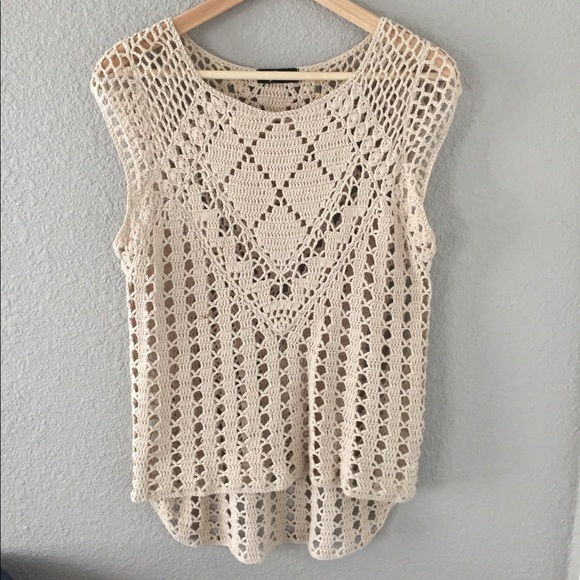 Knit Crochet Cap Sleeve Top In Cream Poshmark